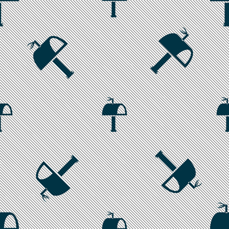 media distribution: Mailbox icon sign. Seamless pattern with geometric texture. Vector illustration