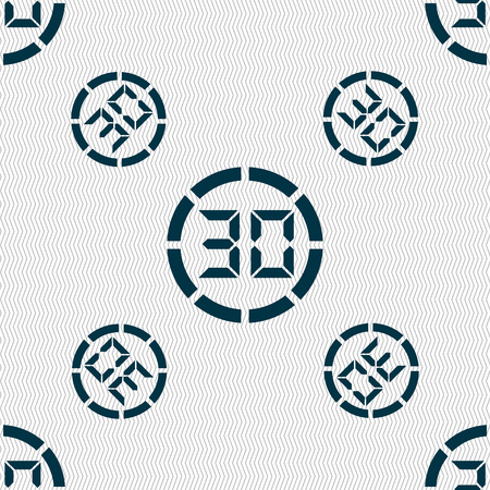 min: 30 second stopwatch icon sign. Seamless pattern with geometric texture. Vector illustration Illustration