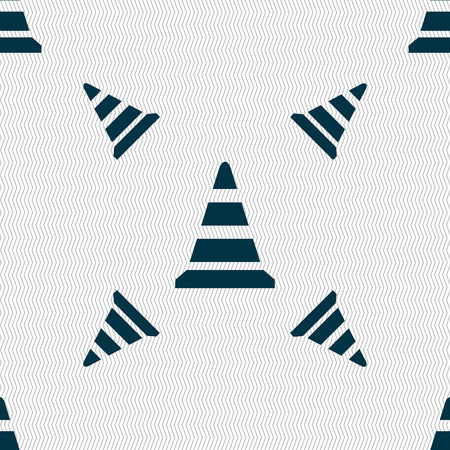 traffic pylon: road cone icon. Seamless pattern with geometric texture. Vector illustration