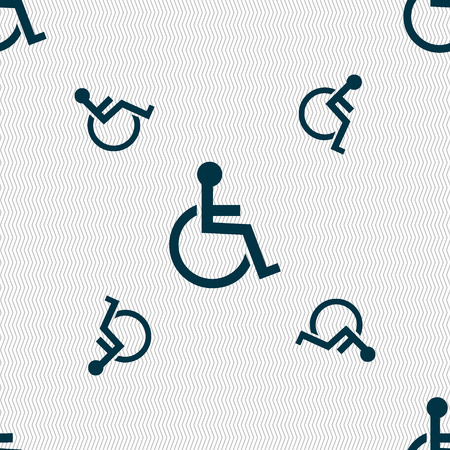 invalid: Disabled sign icon. Human on wheelchair symbol. Handicapped invalid sign. Seamless pattern with geometric texture. Vector illustration Illustration