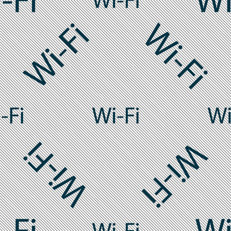 wifi sign: Free wifi sign. Wi-fi symbol. Wireless Network icon. Seamless pattern with geometric texture. Vector illustration