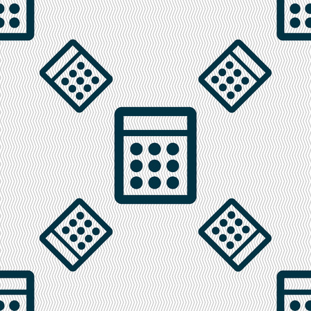 calc: Calculator sign icon. Bookkeeping symbol. Seamless pattern with geometric texture. Vector illustration