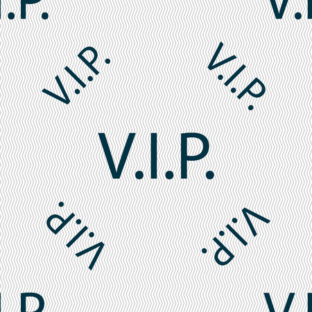 very important person: Vip sign icon. Membership symbol. Very important person. Seamless pattern with geometric texture. Vector illustration