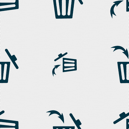 utilization: Recycle bin sign icon. Seamless abstract background with geometric shapes. Vector illustration Illustration