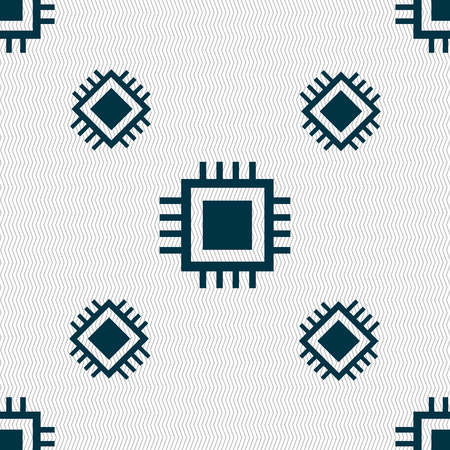 the unit: Central Processing Unit Icon. Technology scheme circle symbol. Seamless pattern with geometric texture. Vector illustration