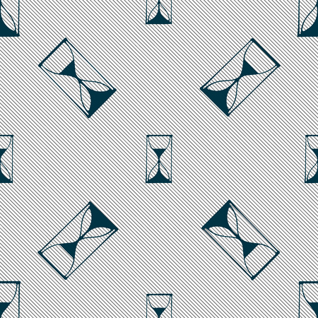 sand timer: Hourglass sign icon. Sand timer symbol. Seamless pattern with geometric texture. Vector illustration