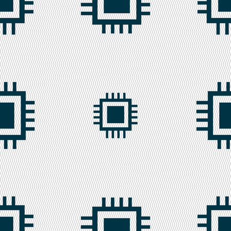 the unit: Central Processing Unit Icon. Technology scheme circle symbol. Seamless abstract background with geometric shapes. Vector illustration