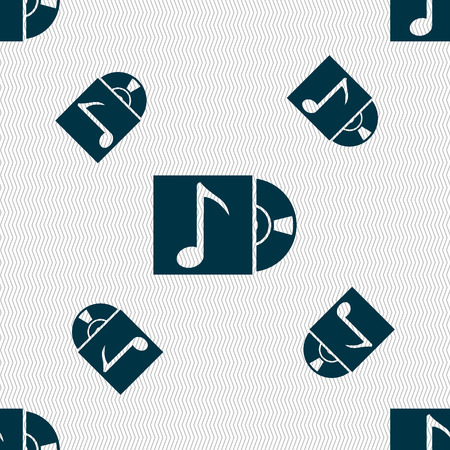 cd player: cd player icon sign. Seamless pattern with geometric texture. Vector illustration Illustration