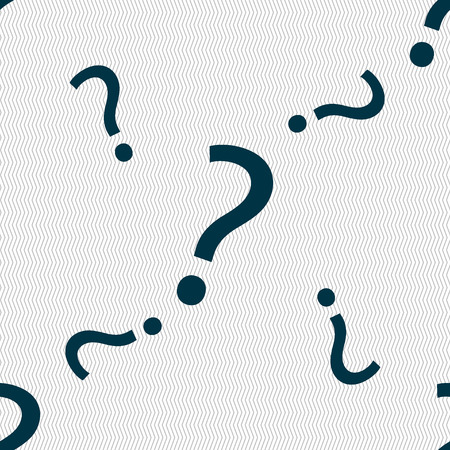 help symbol: Question mark sign icon. Help symbol. FAQ sign. Seamless pattern with geometric texture. Vector illustration