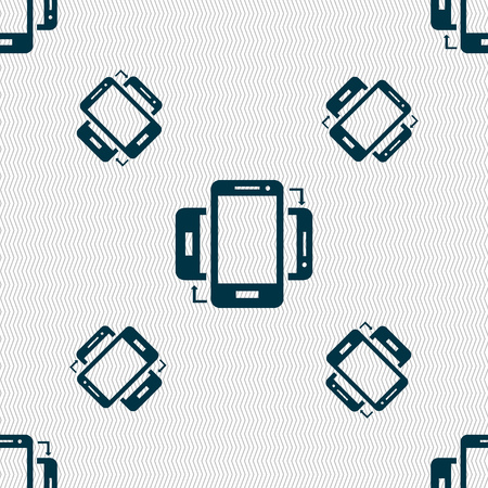 sync: Synchronization sign icon. smartphones sync symbol. Data exchange. Seamless pattern with geometric texture. Vector illustration