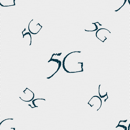 telecommunications technology: 5G sign icon. Mobile telecommunications technology symbol. Seamless pattern with geometric texture. Vector illustration