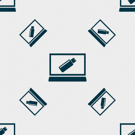 quality controller: usb flash drive and monitor sign icon. Video game symbol. Seamless pattern with geometric texture. Vector illustration Illustration
