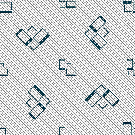 sync: Synchronization sign icon. communicators sync symbol. Data exchange. Seamless pattern with geometric texture. Vector illustration