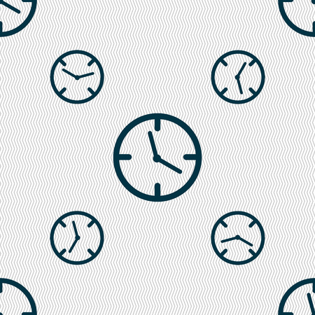 mechanical texture: Clock time sign icon. Mechanical watch symbol. Seamless pattern with geometric texture. Vector illustration
