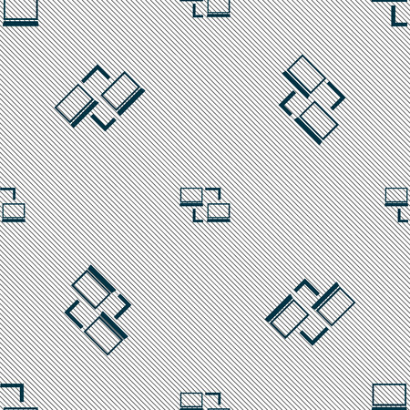 synchronization: Synchronization sign icon. Notebooks sync symbol. Data exchange. Seamless pattern with geometric texture. Vector illustration