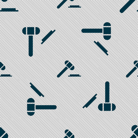 defendant: judge hammer icon. Seamless pattern with geometric texture. Vector illustration