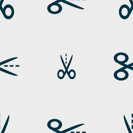 snip: Scissors with cut dash dotted line sign icon. Tailor symbol. Seamless abstract background with geometric shapes. Vector illustration