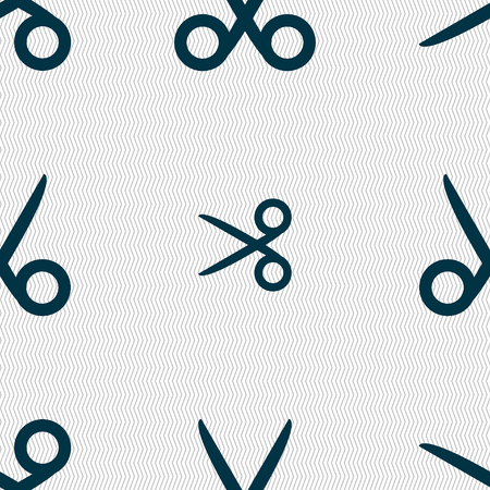 snip: Scissors hairdresser sign icon. Tailor symbol. Seamless abstract background with geometric shapes. Vector illustration