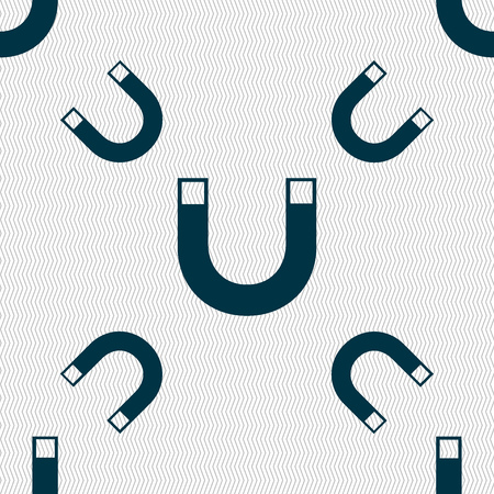 sig: magnet sign icon. horseshoe it symbol. Repair sig. Seamless pattern with geometric texture. Vector illustration Illustration