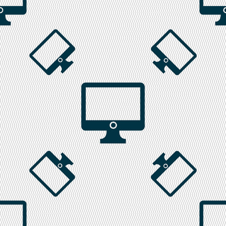widescreen: Computer widescreen monitor sign icon. Seamless pattern with geometric texture. Vector illustration
