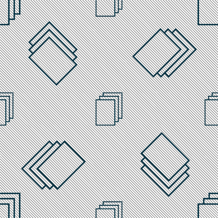 replicate: Copy file sign icon. Duplicate document symbol. Seamless pattern with geometric texture. Vector illustration