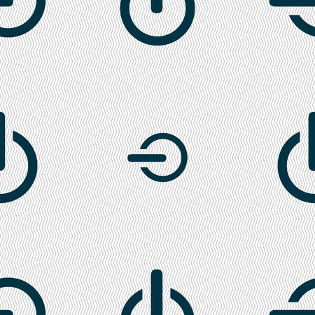 shutdown: Power sign icon. Switch on symbol. Seamless abstract background with geometric shapes. Vector illustration