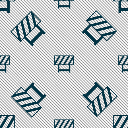 road barrier: road barrier icon sign. Seamless pattern with geometric texture. Vector illustration Illustration