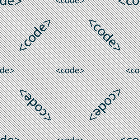 programming code: Code sign icon. Programming language symbol. Seamless pattern with geometric texture. Vector illustration