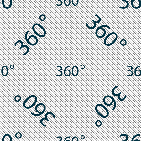 math icon: Angle 360 degrees sign icon. Geometry math symbol. Full rotation. Seamless pattern with geometric texture. Vector illustration