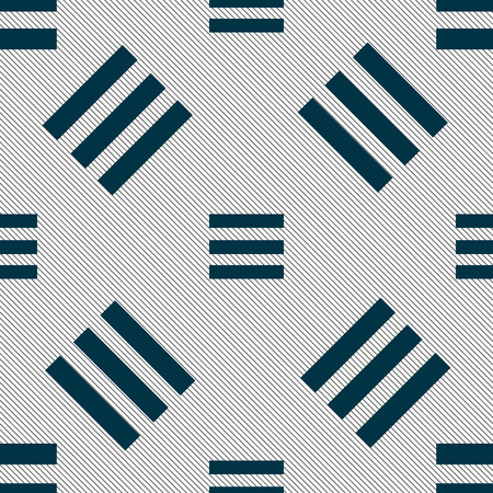align: Align text to the width icon sign. Seamless pattern with geometric texture. Vector illustration
