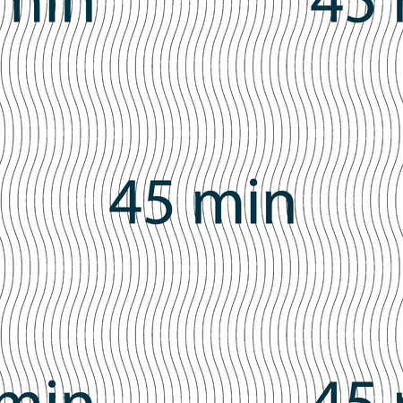 45: 45 minutes sign icon. Seamless pattern with geometric texture. Vector illustration Illustration
