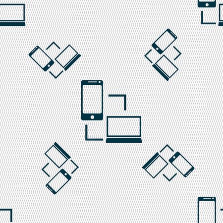 data synchronization: Synchronization sign icon. communicators sync symbol. Data exchange. Seamless pattern with geometric texture. Vector illustration