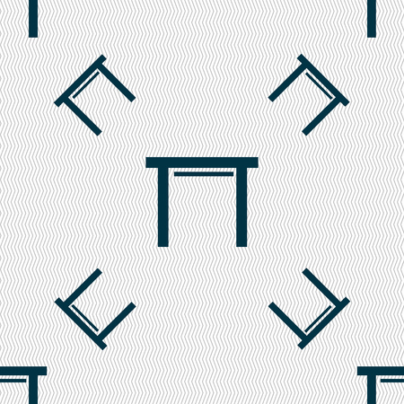 stool: stool seat icon sign. Seamless pattern with geometric texture. Vector illustration