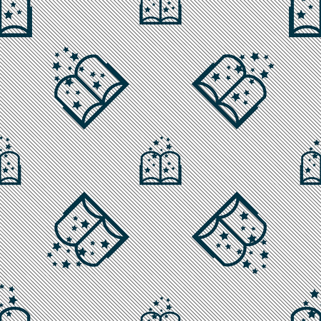 magic book: Magic Book sign icon. Open book symbol. Seamless pattern with geometric texture. Vector illustration