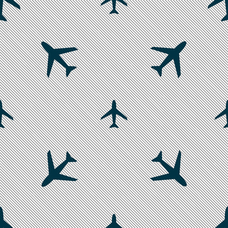 Airplane sign. Plane symbol. Travel icon. Flight flat label. Seamless pattern with geometric texture. Vector illustration Illustration