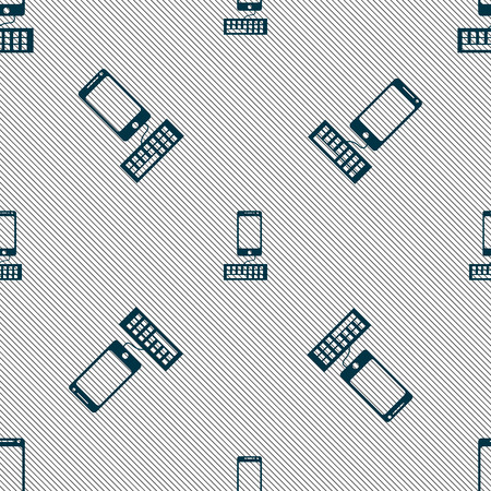 input device: Computer keyboard and smatphone Icon. Seamless pattern with geometric texture. Vector illustration