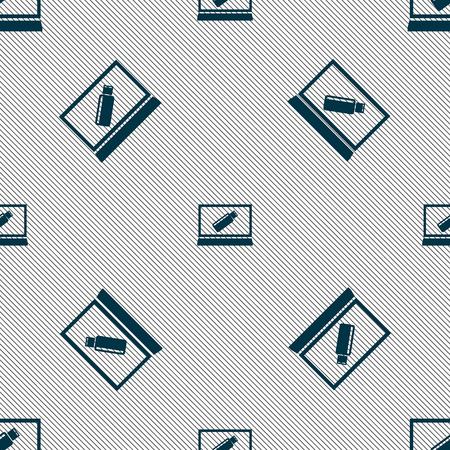 game drive: usb flash drive and monitor sign icon. Video game symbol. Seamless pattern with geometric texture. Vector illustration Illustration
