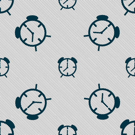 wake up call: Alarm clock sign icon. Wake up alarm symbol. Seamless pattern with geometric texture. Vector illustration Illustration