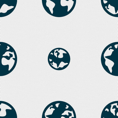 geography background: Globe sign icon. World map geography symbol. Globes on stand for studying. Seamless abstract background with geometric shapes. Vector illustration