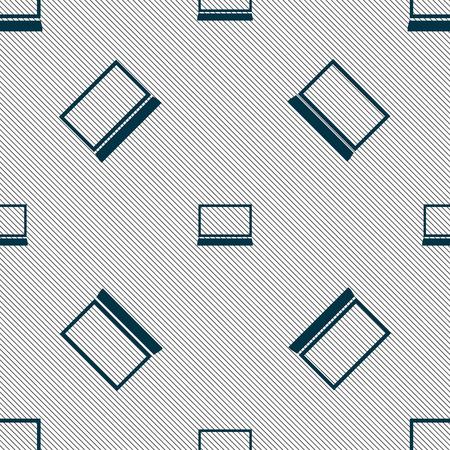 Laptop sign icon. Notebook pc symbol. Seamless pattern with geometric texture. Vector illustration