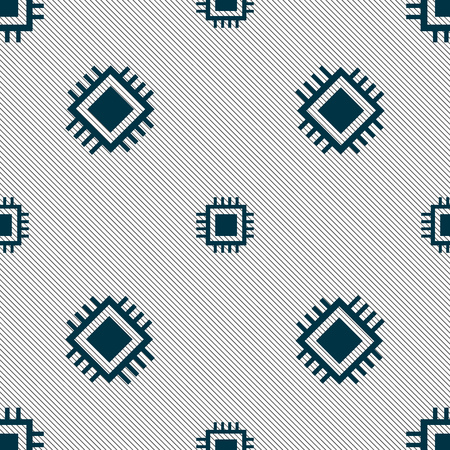 Central Processing Unit Icon. Technology scheme circle symbol. Seamless pattern with geometric texture. Vector illustration