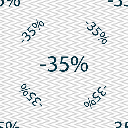 35: 35 percent discount sign icon. Sale symbol. Special offer label. Seamless pattern with geometric texture. Vector illustration