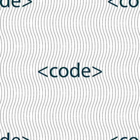 hypertext: Code sign icon. Programming language symbol. Seamless pattern with geometric texture. Vector illustration
