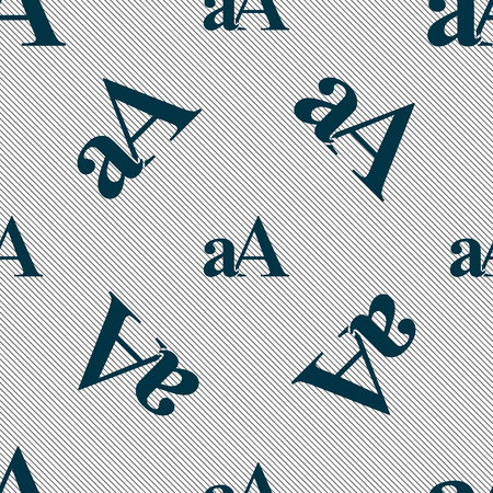 aa: Enlarge font, aA icon sign. Seamless pattern with geometric texture. Vector illustration