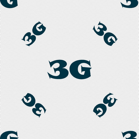 telephony: 3G sign icon. Mobile telecommunications technology symbol. Seamless pattern with geometric texture. Vector illustration Illustration