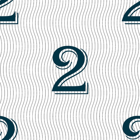second: Second place award sign. Winner symbol. Step two.. Seamless pattern with geometric texture. Vector illustration
