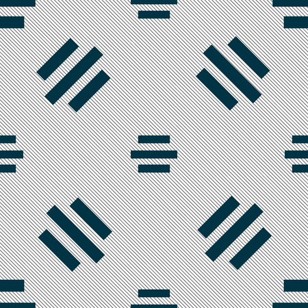 alignment: Center alignment icon sign. Seamless pattern with geometric texture. Vector illustration