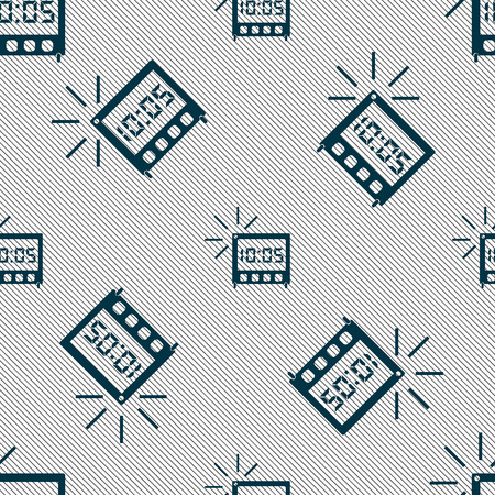 digital clock: digital Alarm Clock icon sign. Seamless pattern with geometric texture. Vector illustration Illustration