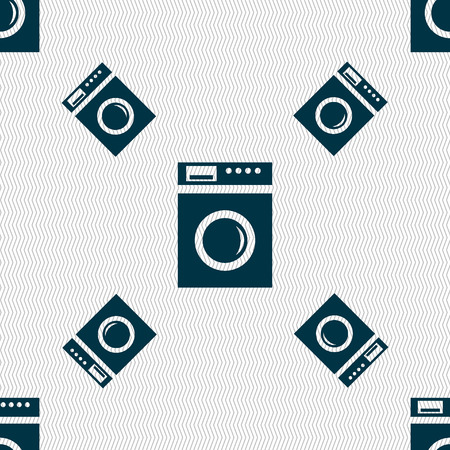 washhouse: washing machine icon sign. Seamless pattern with geometric texture. Vector illustration