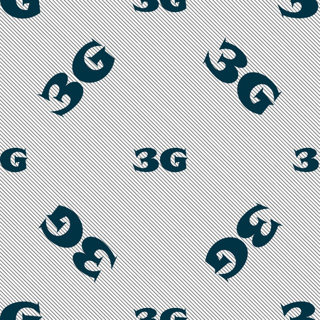 telecommunications technology: 3G sign icon. Mobile telecommunications technology symbol. Seamless pattern with geometric texture. Vector illustration Illustration